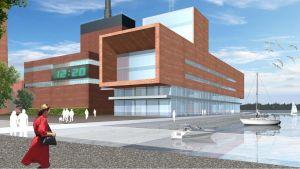 Arkitektbyrån Aitoaho & Viljanens skiss över Vasa elektriskas nya kontorsbyggnad.