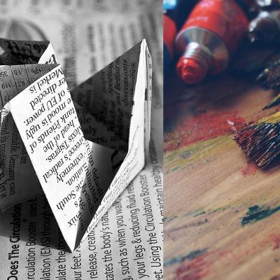 kuvaparissa sanomalehdestä taitettu vene ja taiteilijatarvikkeita