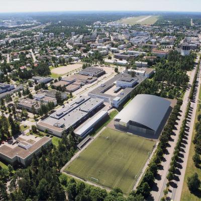 Ilmakuva Lappeenrannan ammattikoulun jalkapallokentästä ja sen viereen tulevasta sisäliikuntahallista.