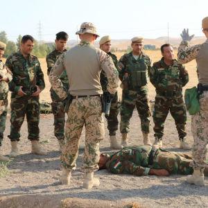 Soldater står på rad och lyssnar på instruktioner.