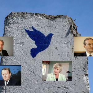 Rauhankyyhky muurissa Eurooppa-museon edustalla Schengenissä