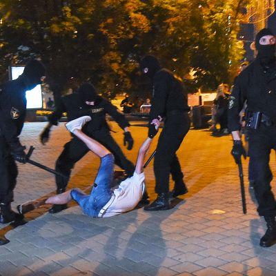 Poliisit retuuttavat mielenosoittajaa