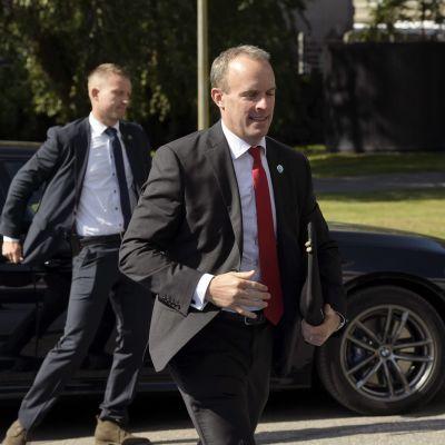 Den brittiska utrikesministern Dominic Raab anländer till Finlandiahuset den 29 augusti 2019.
