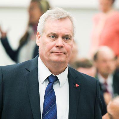 SDP:n puheenjohtaja Antti Rinne eduskunnassa 5. huhtikuuta.