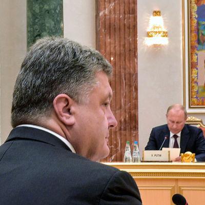 Vladimir Putin och Petro Porosjenko under mötet i Minsk för att lösa Ukrainakrisen