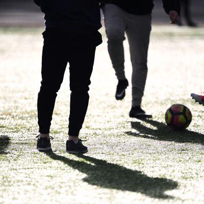 Nuoria urheilemassa vapaa-ajalla Lauttasaaren liikuntapuistossa Helsingissä.