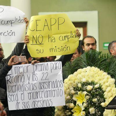 Toimittajat protestoivat murhia Veracruzissa 2018