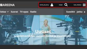 Kuva Yle Areenasta, jossa symbolien vieressä on selittävät tekstit käyttöä helpottamaan.