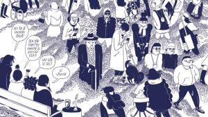Detalj från Ulla Donners seriebok Skiten.