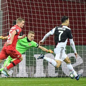 Lukas Hradecky slänger sig mot ett skott.