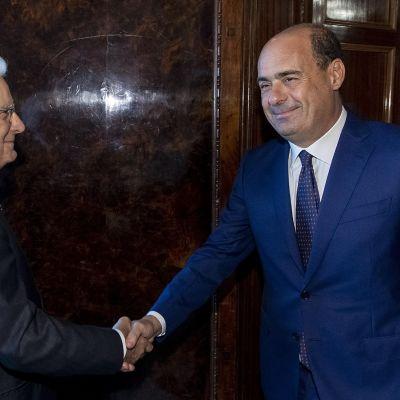 Italian presidentti Sergio Mattarella ja Demokraattisen puolueen puheenjohtaja Nicola Zingaretti.