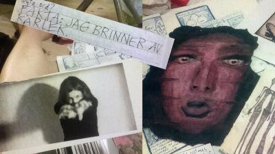 """Collage av gamla texter och bilder, abstrakta kroppar och ordcitat som """"jag brinner av kärlek"""""""