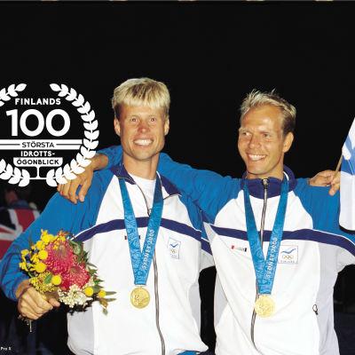 Jyrki Järvi och Thomas Johanson med OS-gulden, 2000.