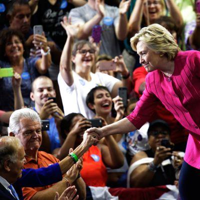 Hillary Clinton tapasi kannattajiaan Pennsylvaniassa 29. heinäkuuta.