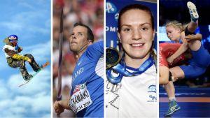 Roope Tonteri, Tero Pitkämäki, Jenna Laukkanen och Petra Olli, kandidater till priset som årets idrottare i Finland 2015.