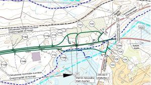 Karta över nya planerade vägar i Åsenby vid riksväg 25 mellan Ekenäs och Karis.