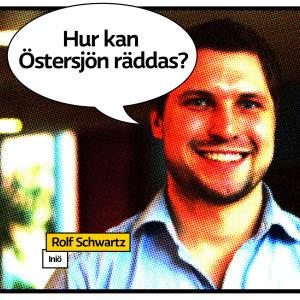 """Rolf Schwartz portsätt som seriesida med pratbubbla och texten """"Hur kan Östersjön räddas?"""""""