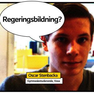Gymnasiestuderande Oscar Stenbacka i vasa med grafik för hashtaggen femtioelvafrågor och pratbubbla med frågan regeringsbildning?