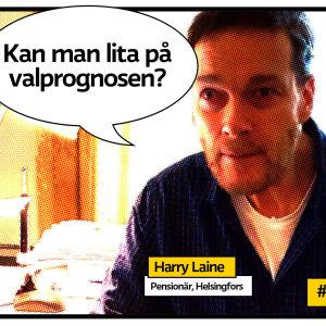 """pensionären Harry Laine i Helsingfors på sitt arbetsrum som rastrerad serietidningsbild med pratbubbla med texten """"kan man lita på valprognosen?"""""""
