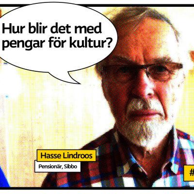 Pensionären Hasse Lindroos i Sibbo med pratbubbla och frågan Hur blir det med pengar för kultur?
