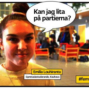 Gymnasisten Emilia Louhiranta i serietidningsrastrerad ruta med pratbubbla och frågan kan jag lita på partierna?