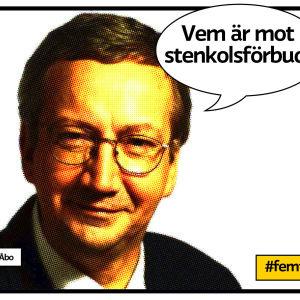 """jarl Ahleck mot vit bakgrund och pratbubbla """"Vem är mot stenkolsförbud?"""""""