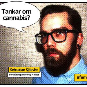 """Sebastian Sjökvist porträtt som serietidningssida med pratbubbla och texten """"Tankar om cannabis?"""""""
