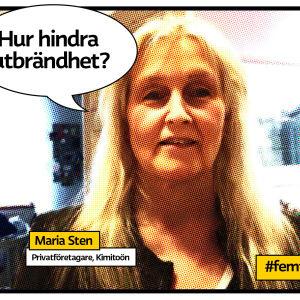 """Maria Sten porträtt inomhus som serietidningssida med texten Hur hindra utbrändhet?"""""""