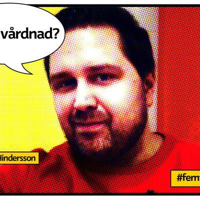 """Christian Hindersson med röd och gul vägg bakom. Serietidningsliknande bild med pratbubbla och texten """"Delad vårdnad?"""""""