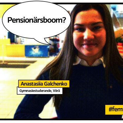 """Gymnasisten Anastasiia Galchenko i Vörå rastrerad som serietidningsbild med pratbubla och texten """"Pensionärsboom?"""""""