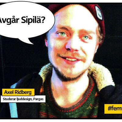 """Ljuddesignsstuderanden Axel Ridberg vid Arcada i Pargas som rstrerad serietidningsbild med pratbubbla och texten """"Avgår Sipilä?""""."""