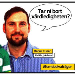 """Pappa Daniel Tunér till höger och sonen Joar till vänster på rastrerad serietidningsliknande bild med pratbubbla och texten """"tar ni bort vårdledigheten?""""."""