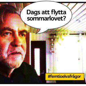 """Tidigare stadsdirektören Mårten Johansson porträtt på terrass som serietidiningssida med pratbubbla och text """"Dags att flytta sommarlovet?"""""""