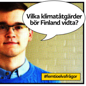 """Gymnasisten Rasmus Bokull i Vörå som rastrerad serietidningsbild med pratbubbla med texten """"Vilka klimatåtgärder bör Finland ta?"""""""