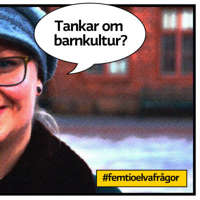 """Barnkulturkoordinator Pamela Andersson som serietidningsbild med pratbubbla och texten """"Tankar om barnkultur?"""""""