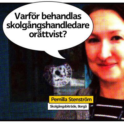 """Pernilla Stenström som seriesida med pratbubbla och texten """"Varför behandlas skolgångshandledare orättvist?"""""""