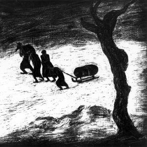 Bedřich Fritta: Kvinna dragandes på en lastad släde