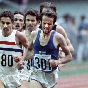 Lasse Virén och Ian Stewart, 5000 meter OS 1976.