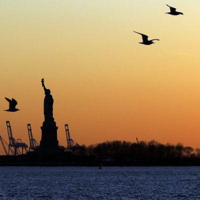 Vapauden patsas kuvattuna 19. helmikuuta.
