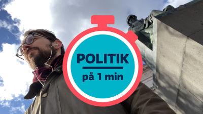"""Johan Ekman intill staty av Johan Snellman och en grafisk klocka med texten """"Politik på 1 min""""."""