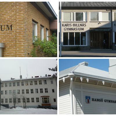 Ekenäs gymnasium, Karis-Billnäs gymnasium, Virkby gymnasium och Hangö gymnasium