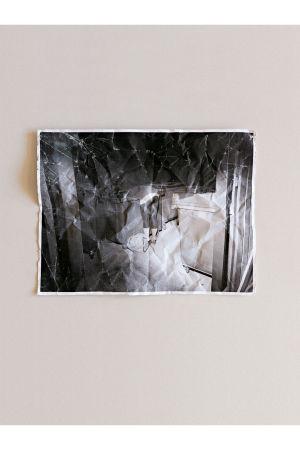 seinälle ripustettu valokuva naisesta jonka pää roskalaatikossa