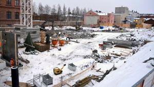 Bygget av Flickis-kvarteret i november 2016.
