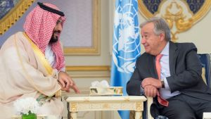 Saudiarabiens kronprins Mohammed bin Salman i samtal med FN:s generalsekreterare António Guterres