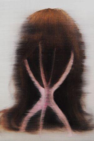 konstverk av huvud, hår och en ställning