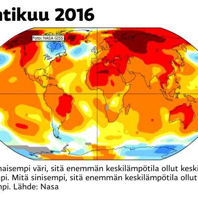 Huhtikuun lämpötilagraaffi
