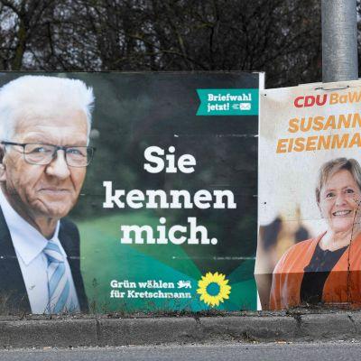 Vaalikylttejä Baden-Wuerttembergissa.