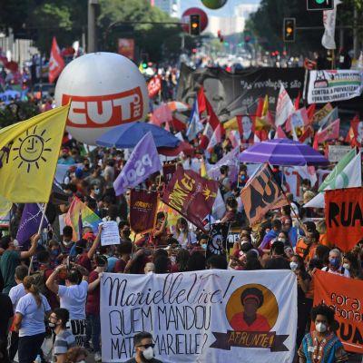 Demonstranter med med flaggor och banderoller.