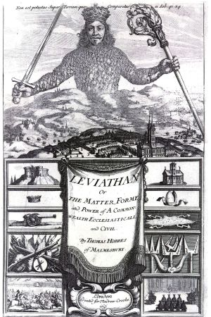 Pärmbild Leviathan. En härskare överst och samhället med byggnader och kanoner under honom.