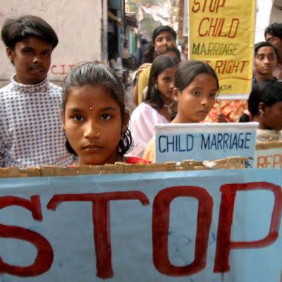 Demonstration mot barnäktenskap i Indien år 2006.